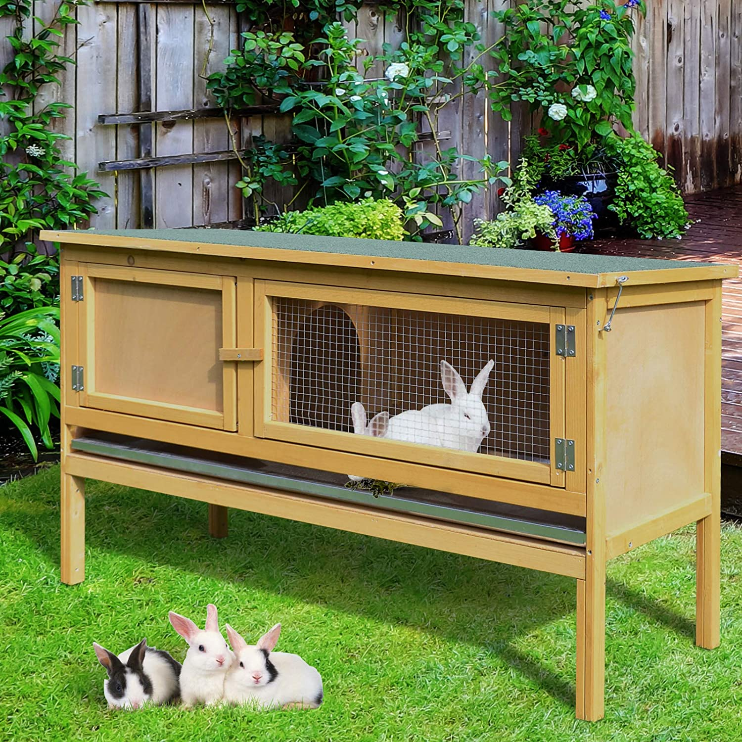 PawHut 45x18x26 Wooden Elevated Rabbit Hutch Backyard Bunny Cage Outdoor Small Animal House w//Slide-Out Tray /& Hinged Top