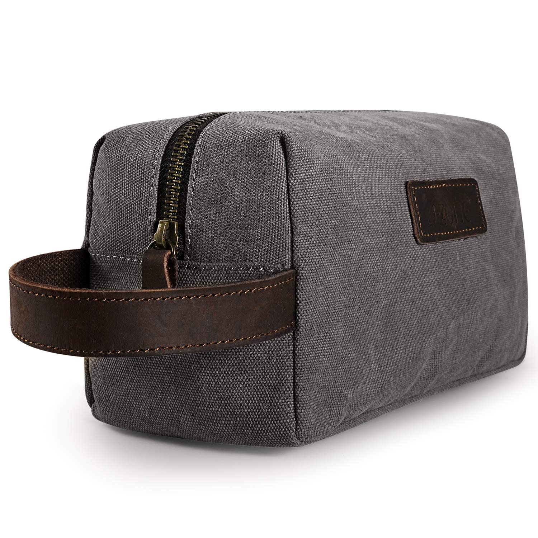 S-ZONE Canvas Travel Toiletry Bag Shaving Dopp Kit Cosmetic Makeup Bag