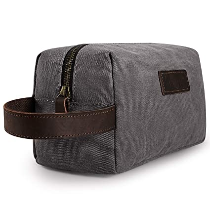 S ZONE Canvas Travel Toiletry Bag Shaving Dopp Kit Cosmetic Makeup Bag