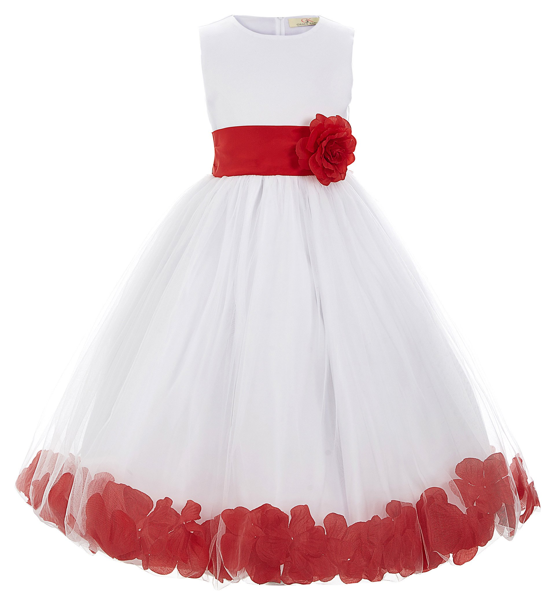 GRACE KARIN Niñas Vestido Largo Elegante de Princesa con Flores para Dama de Honor Fiesta de