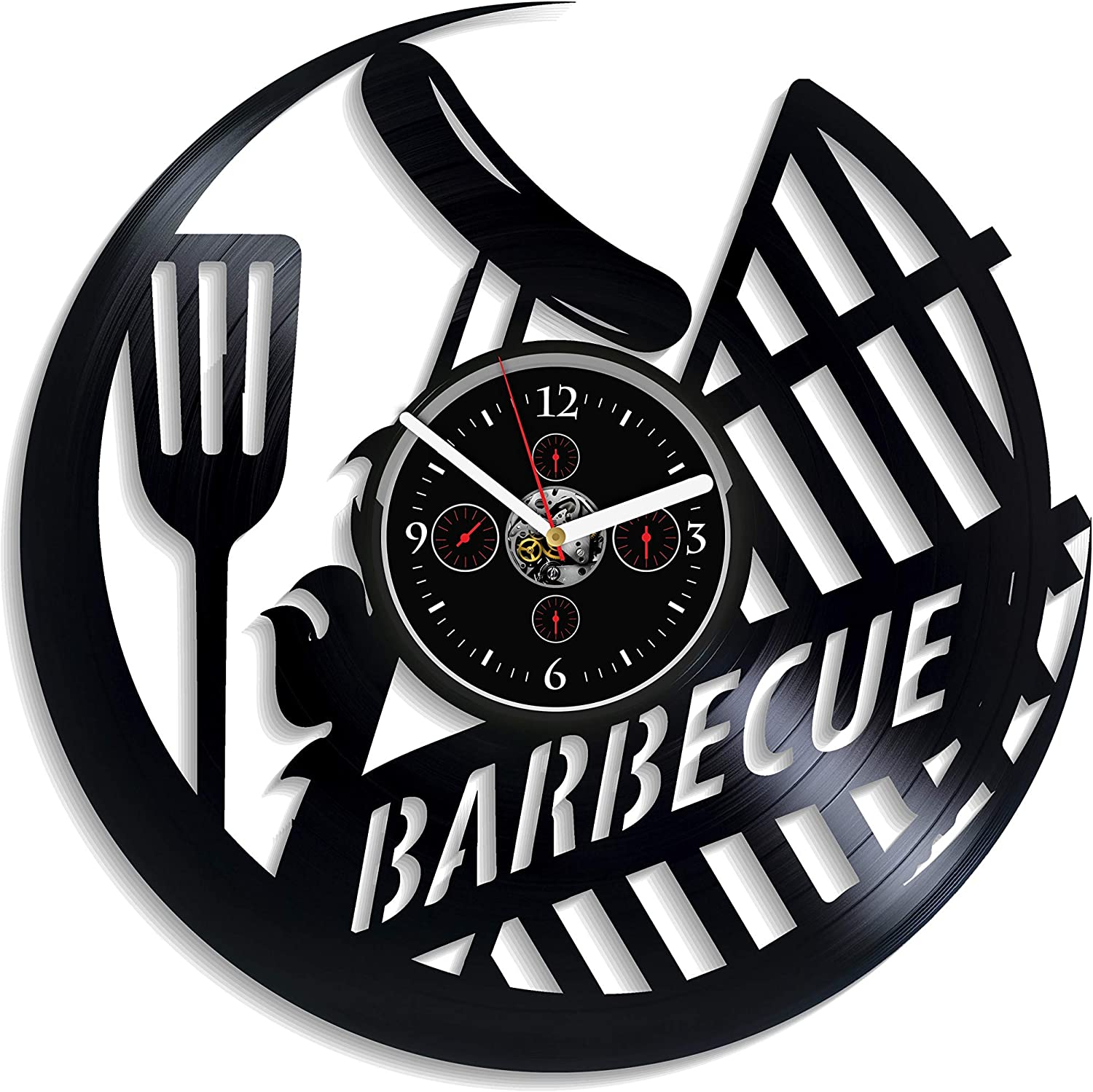 Barbecue Wall Clock Vintage Vinyl Record Retro Wall Clock Large Food Art Exclusive Wall Clock 12 Inch Birthday Gift Barbecue Gift for Men and Woman New Year Gift Handmade Wall Clock