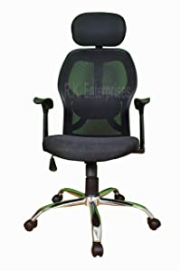 RS Enter. Ergonomic Mesh High Back Chair with Chrome Base and Seat Height Adjustment, 48.9x48.9x120cm (Black)