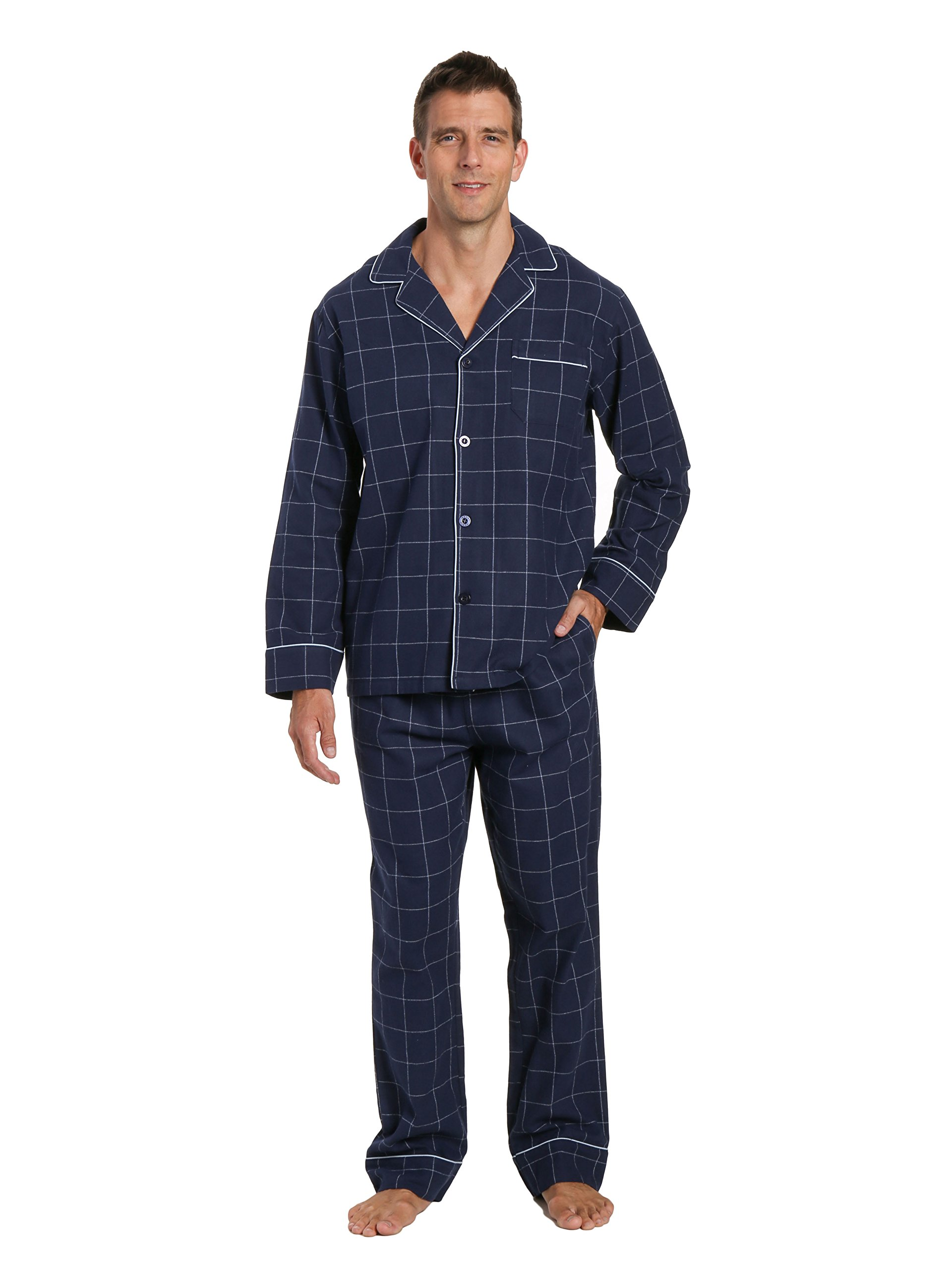 Men's Flannel Pajama Set - Windowpane Checks - Navy - Large
