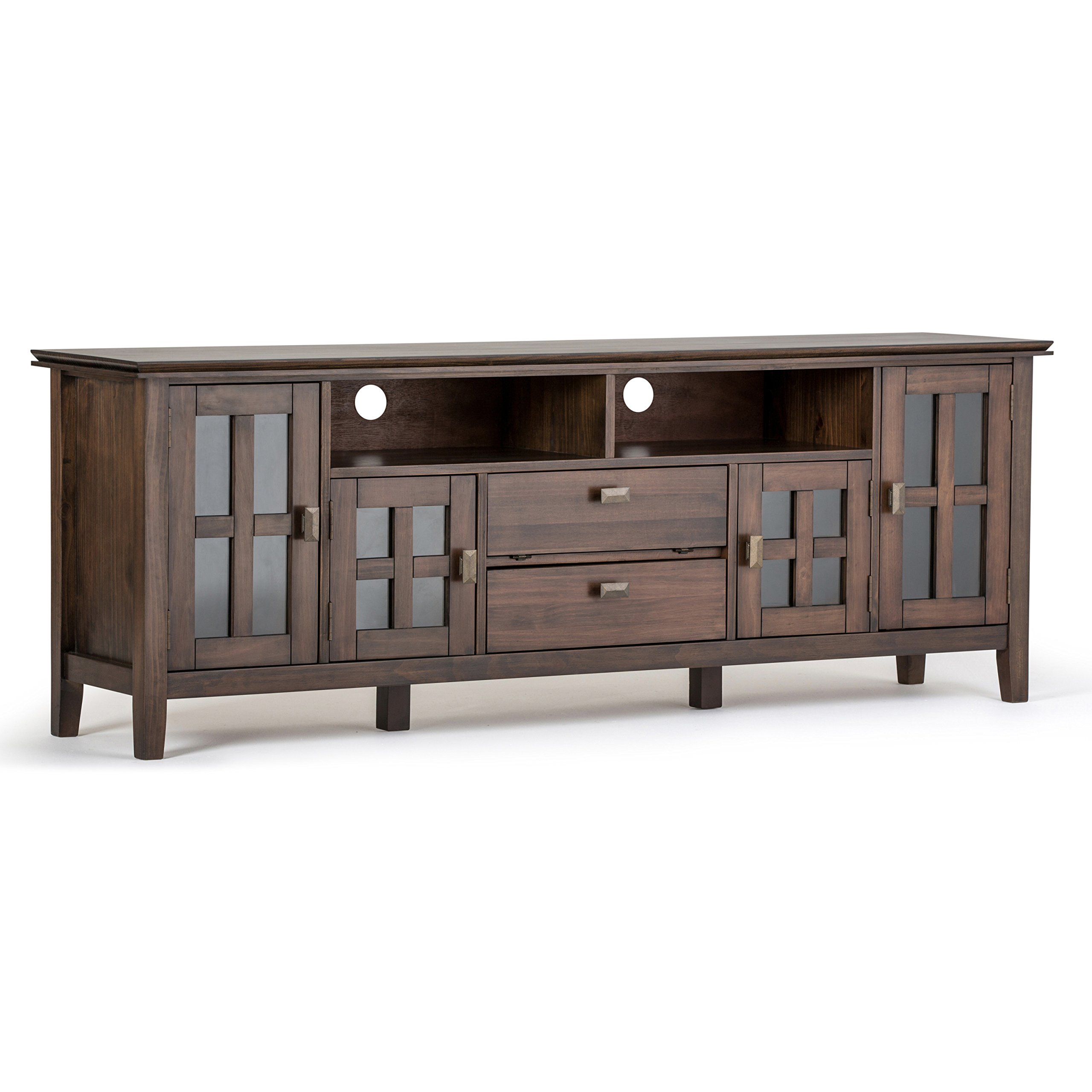 Simpli Home AXCHOL005-72-NAB Artisan Solid Wood 72 inch wide Contemporary TV media Stand in Natural Aged Brown For TVs up to 80 inches by Simpli Home