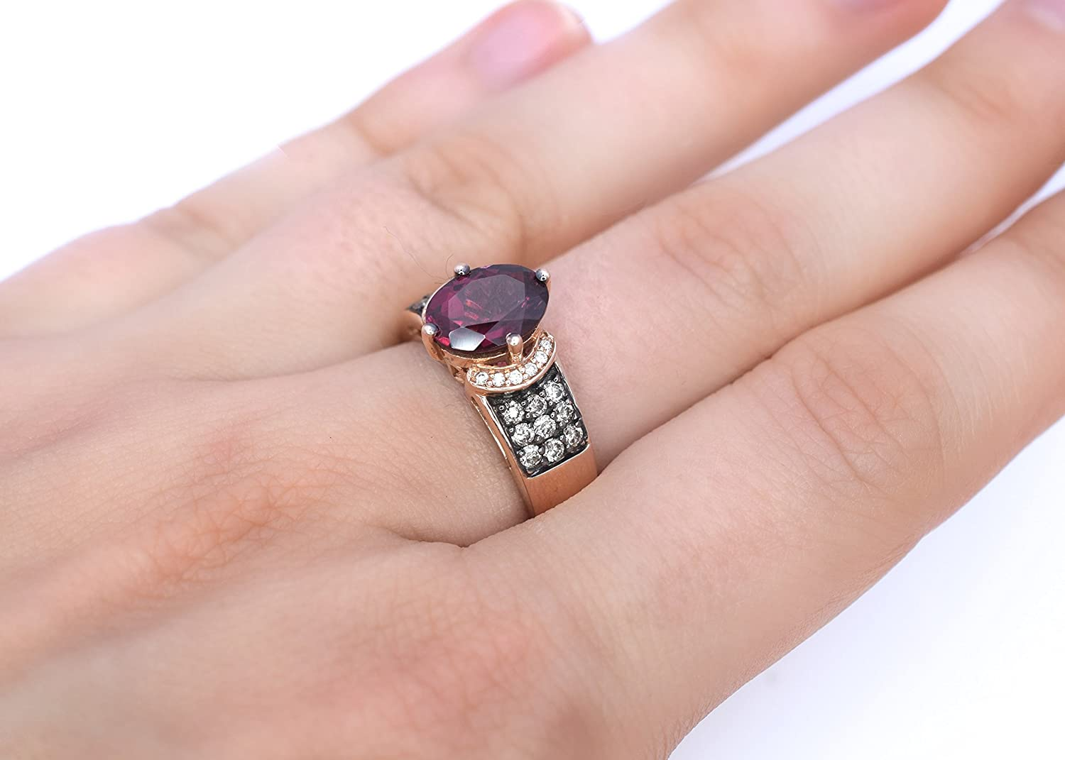 Amazon.com: LeVian Ring Rhodolite Garnet Chocolate and Vanilla ...