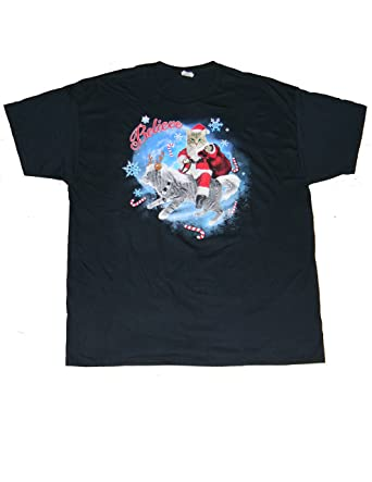 c3ab72384762ad mens funny christmas cat claus and catdeer believe t shirt size s 3436