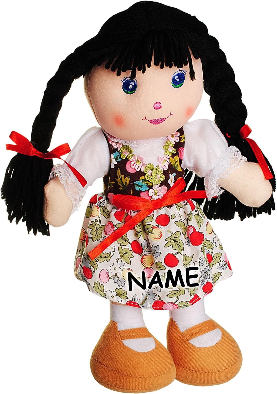 .. alles-meine.de GmbH gro/ße Schmusepuppe Stoffpuppe aus Pl/üsch M/ädchen mit Kleid Lange Schwarze Haare Name Blumen /& Bl/üten Kleidung AUSZIEHBAR inkl 35-36 cm