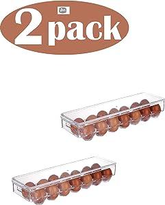 YBM Home 2-Pack Plastic Egg Holder for Refrigerator - Fridge Egg Storage Bin with Lid Holds Up to 14 Eggs, Clear 2125-2