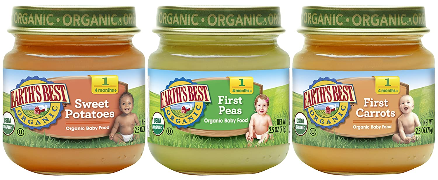 Earth's Best Organic Stage 1 Baby Food, My First Veggies Variety Pack, 2.5  oz. Jar (12 Count): Amazon.com: Grocery & Gourmet Food