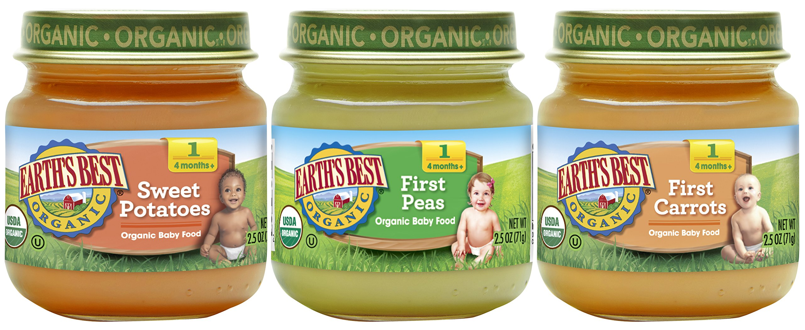 Earth's Best Organic Stage 1 Baby Food, My First Veggies Variety Pack, 2.5 oz. Jar (12 Count) by Earth's Best
