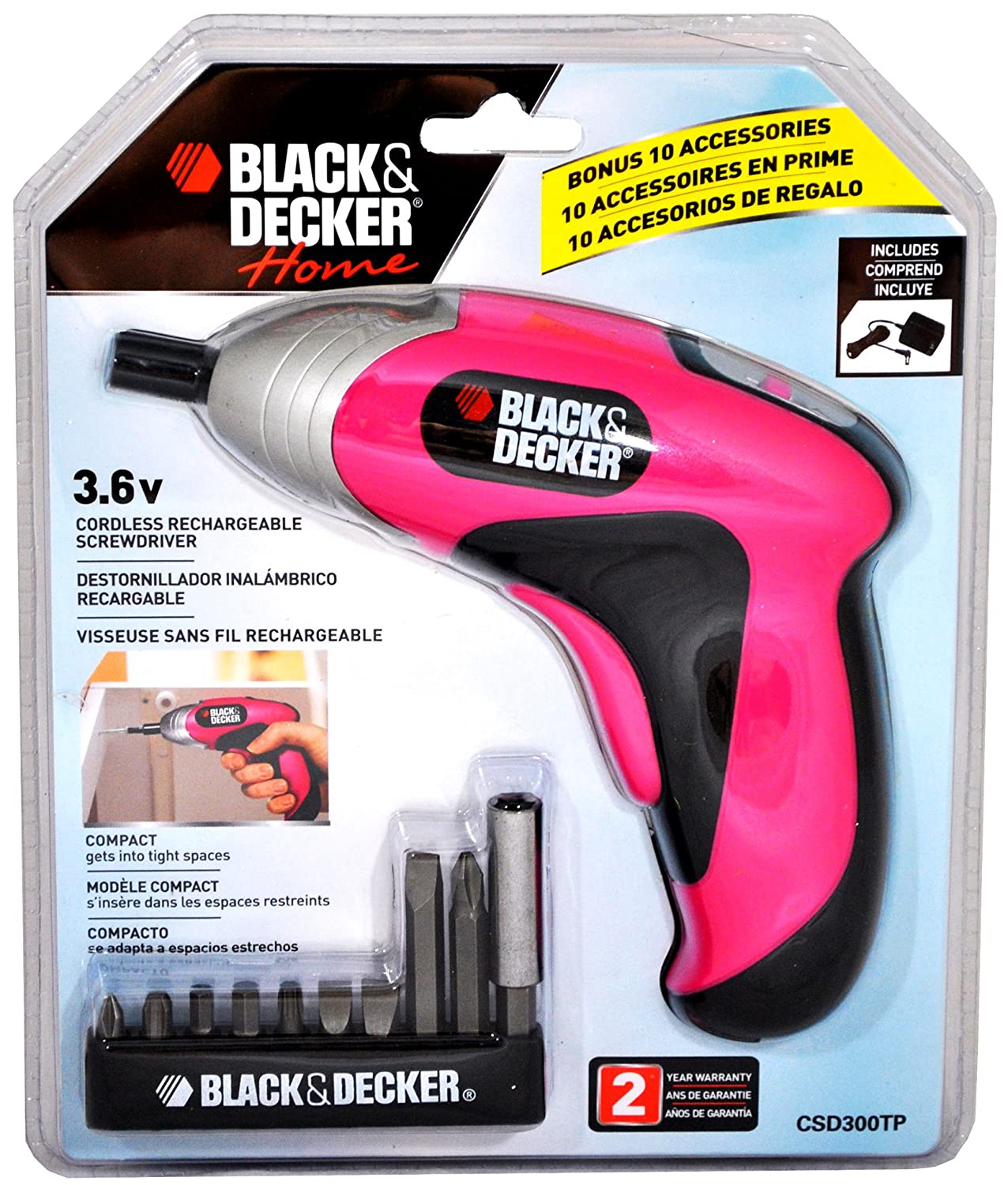 Amazon.com : Black and Decker Home Series 3.6 Volt Pink Cordless ...