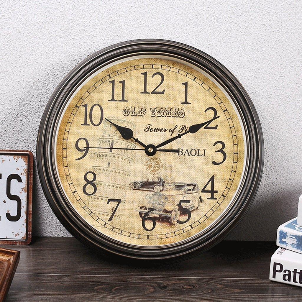 ウォールクロックスカンジナビアレトロサイレントウォッチファッションリビングルームシンプルなヨーロッパのアンティークウォールクロックヨーロッパの時計のクロック14インチ (色 : D) B07F15NRFW D D