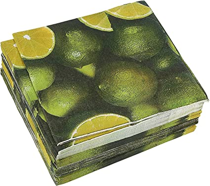 100-Pack Decorative Napkins - Disposable Paper Party Napkins with Lime Designs - Perfect for Birthday Parties, Celebrations and Special Occasions, 13 x 13 Inches