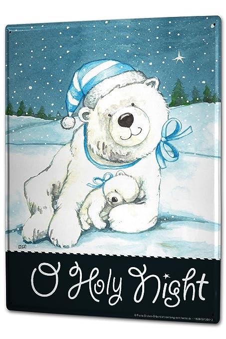 Cartel Letrero de Chapa XXL Santa Claus oso polar Noche de Navidad ...