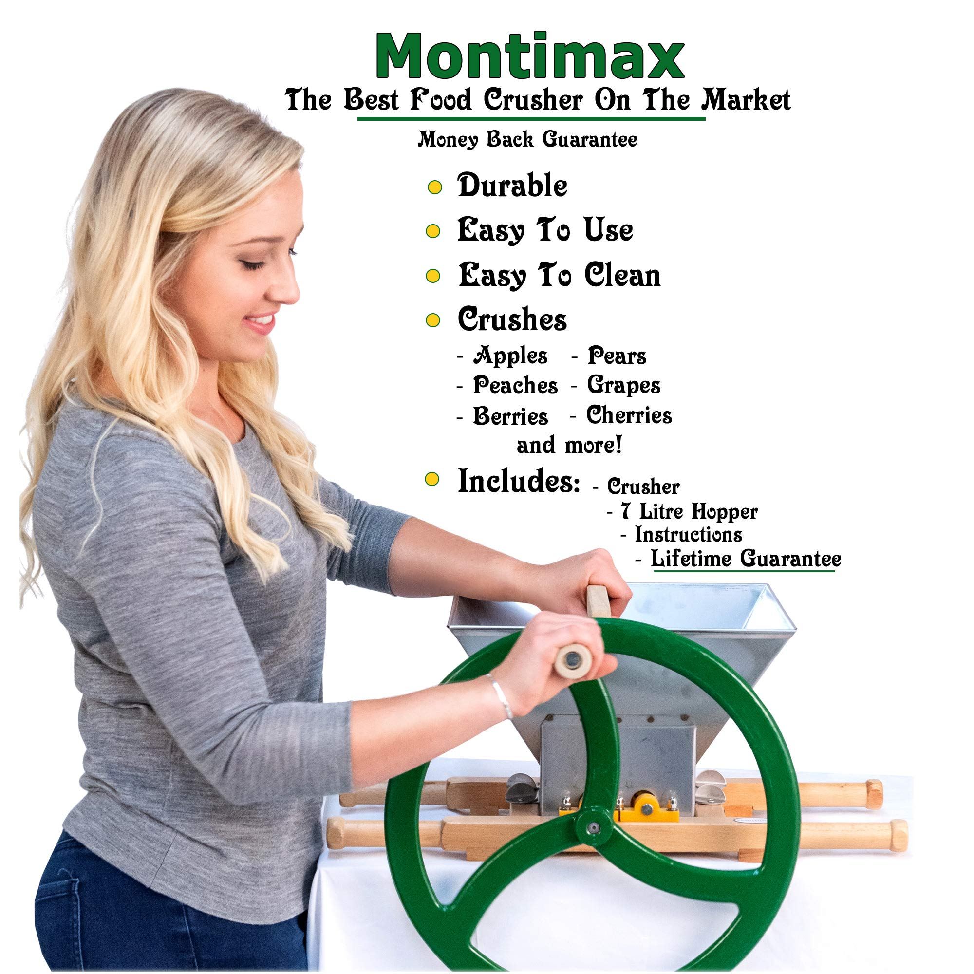 Fruit & Apple Crusher for Wine & Cider Pressing - Manual Juicer Grinder & Fruit Scatter - Heavy Duty Stainless Steel Cutting Blades & Hopper - By Green Max Products by Montimax By Green Max Products (Image #4)