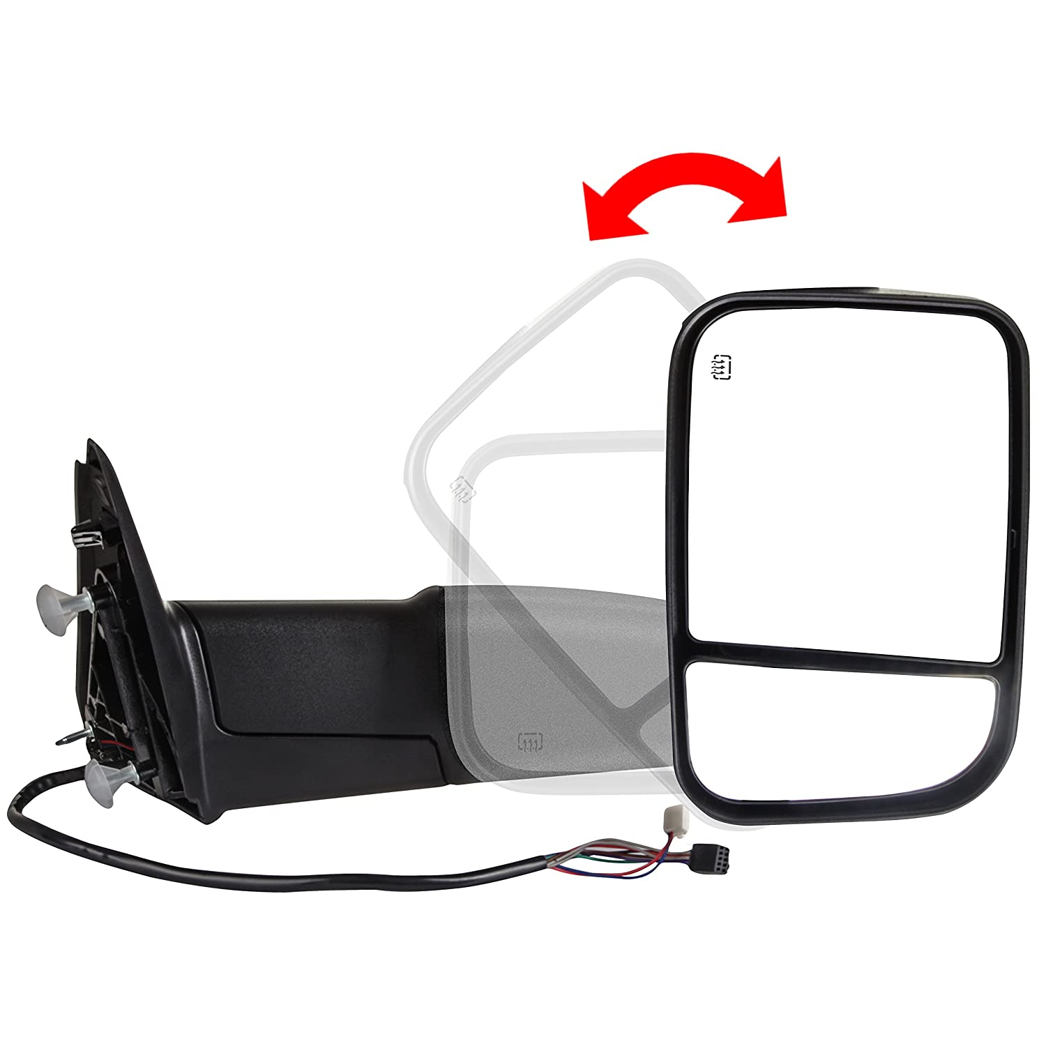SCITOO Towing Mirrors Replace Mirror Parts with Power Heated/Function Compatible for fit 2010-2016 Dodge 1500 2500 3500 Models Comes with Pair Mirrors 065062-5206-1501278713