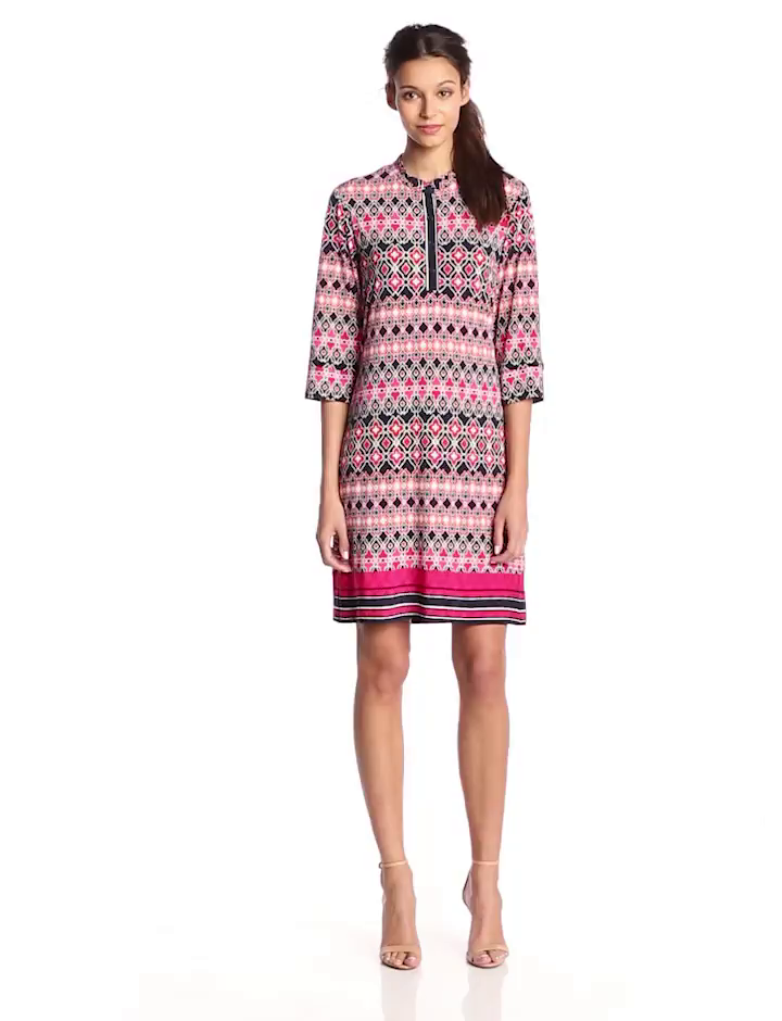 laundry BY SHELLI SEGAL Women's Banded Collar Dress, Midnight Multi, Large