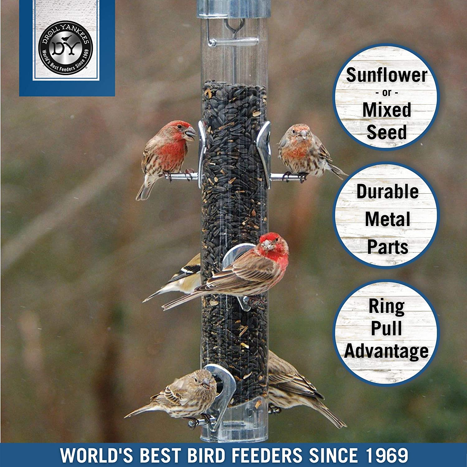 Droll Yankees A-6RP Classic Ring Pull Sunflower Seed Bird Feeder, Hanging Tube Feede, 16-Inch : Pet Bird Feeders : Garden & Outdoor