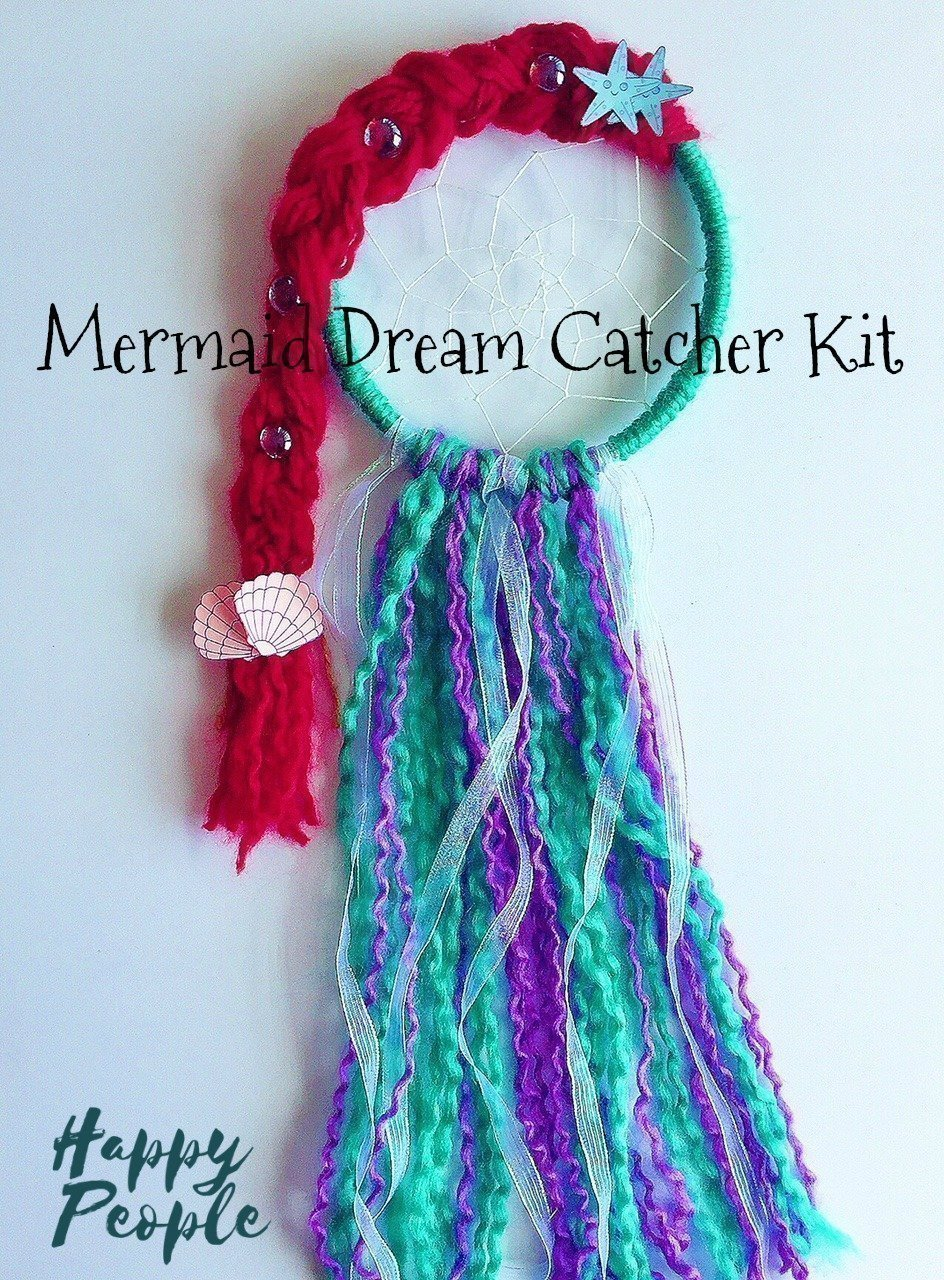 Mermaid Dream Catcher Kit, Craft Project, Gift for Girls