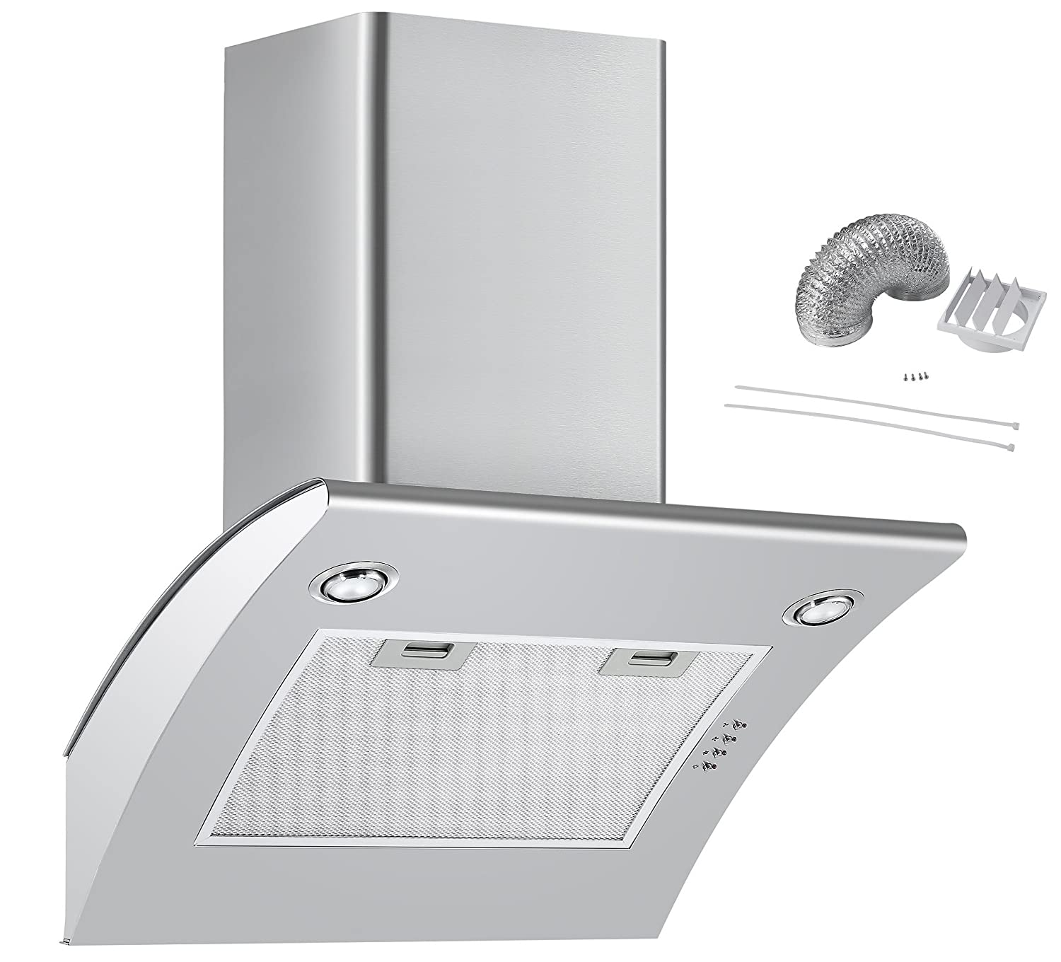 Cookology ARCH600SS 60cm Extractor Fan   Angled Stainless Steel Chimney Cooker Hood & Ducting Kit ARCH600SS DK1M150