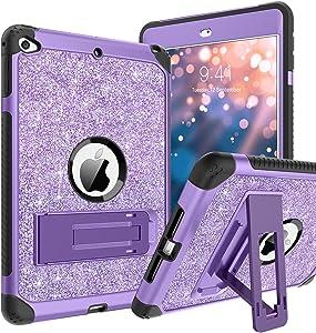 BENTOBEN iPad Mini 5 Case, iPad Mini 4 Case, Glitter Sparkly 3 Layers Heavy Duty Rugged Shockproof Kickstand Sturdy Leather Protective Tablet Cover for Apple iPad Mini 5 / iPad Mini 4, Purple
