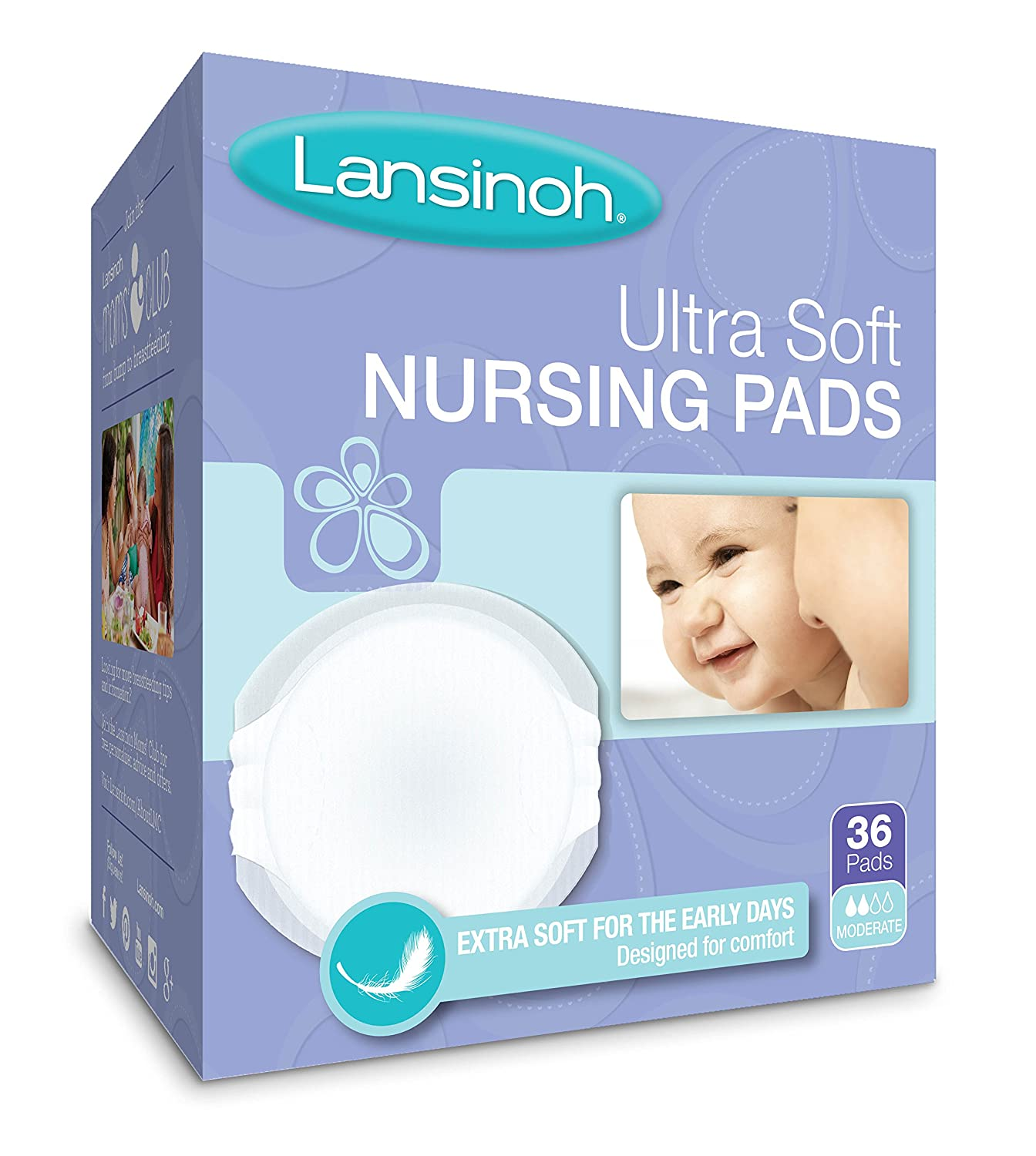 Lansinoh Nursing Pads, Pack of 36 Ultra Soft Disposable Breast Pads 20250