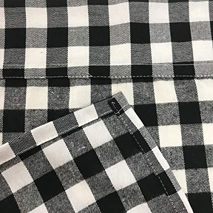 Lghome Buffalo Check Curtains Plaid Window Treatment Kitchen Window Panels Black And White 36x36inch Pack Of 2
