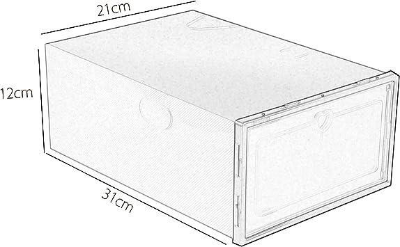 32.5 x 23 x 14,5 cm Verde, 12 PCS Sinbide Scatola da Scarpe Scatola da Scarpe Set di 6//12 Scatole da Scarpe in plastica Trasparente Scatola di Scarpe da Scarpa Pieghevole