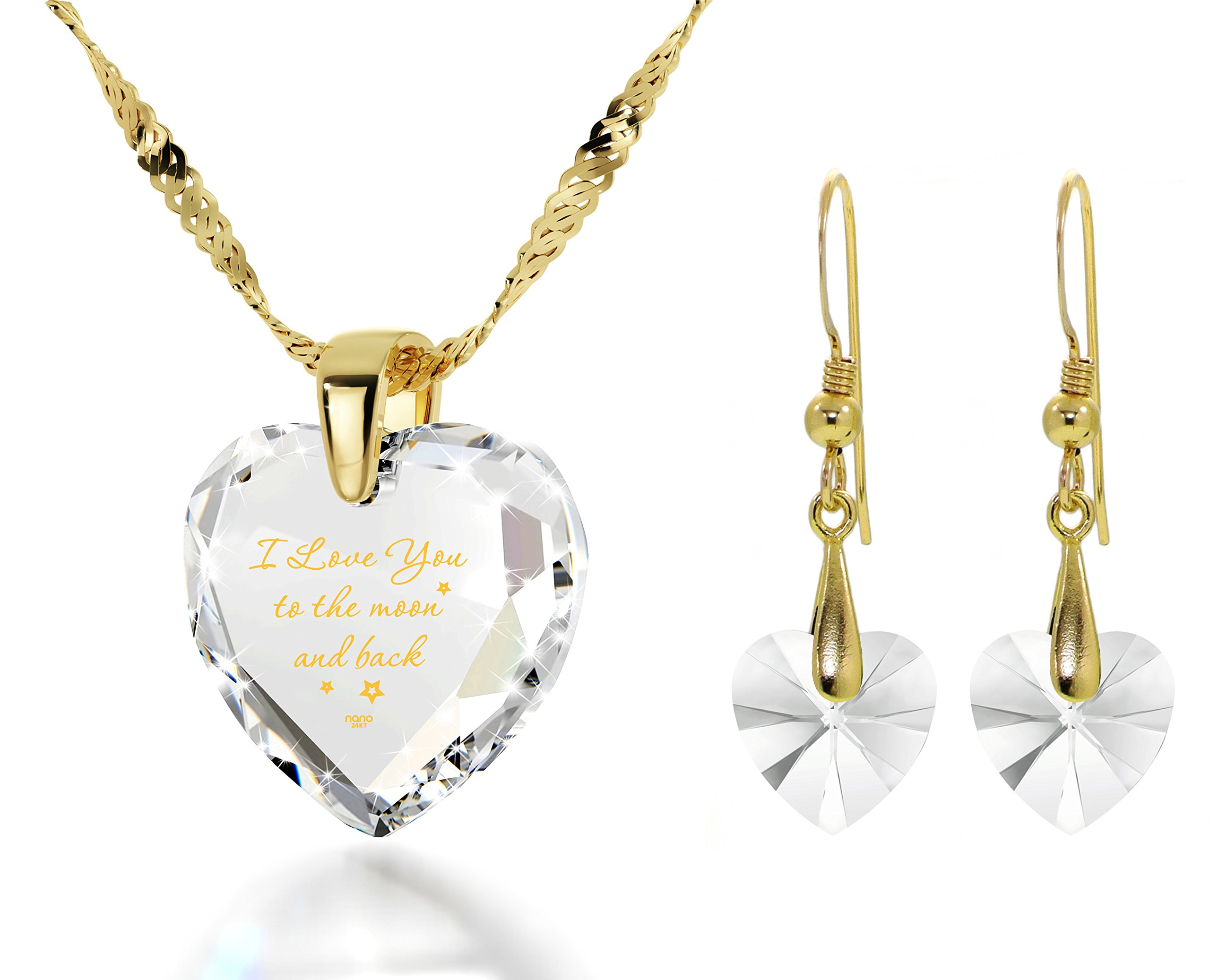 Heart Jewelry Set CZ I Love You to the Moon and Back Necklace and Crystal Earrings, 18'' Gold Filled Chain