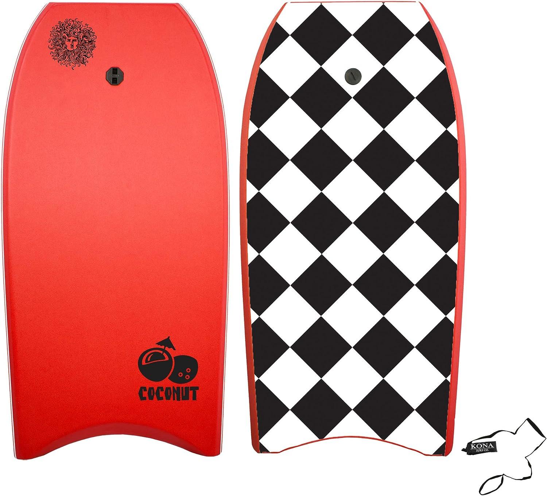 KONA SURF CO Coconut Body Board Lightweight Soft Foam Top Boogie Bodyboard Package Includes Premium Wrist Leash