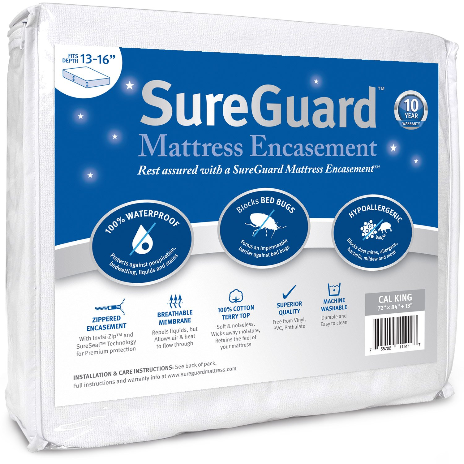 Cal King (13-16 in. Deep) SureGuard Mattress Encasement - 100% Waterproof, Bed Bug Proof, Hypoallergenic - Premium Zippered Six-Sided Cover - 10 Year Warranty