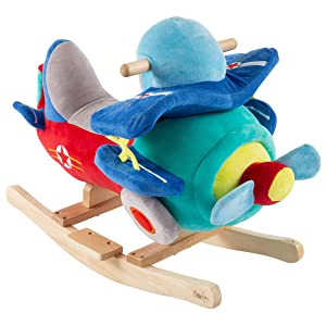 Happy Trails 80-690PLNRocking Plane Toy- Kids Plush Stuffed Ride On Wooden Rockers with Sounds & Handles-Make Believe Play- Fun for Boys, Girls, Toddlers, Brown/a