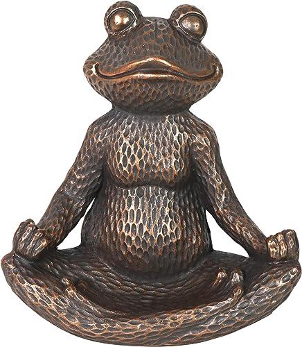 Exhart Golden Meditating Lotus Yoga Frog Statue   Outdoor Yoga Zen Inspired Garden Art  UV-Treated