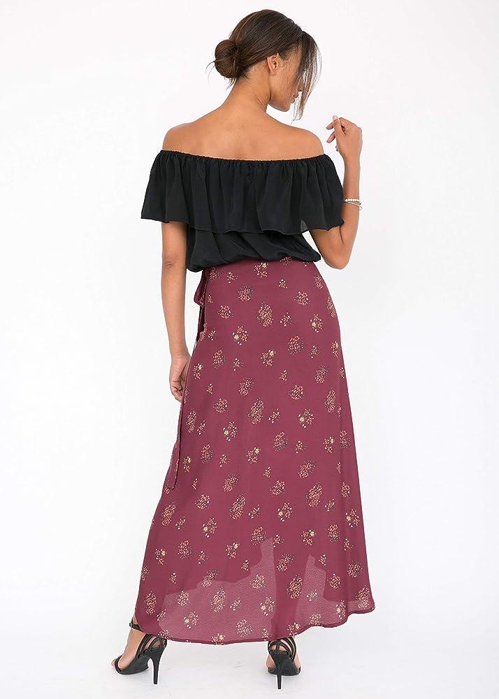 likemary - Falda - Envolvente - Floral - para Mujer Rojo Burgundy ...