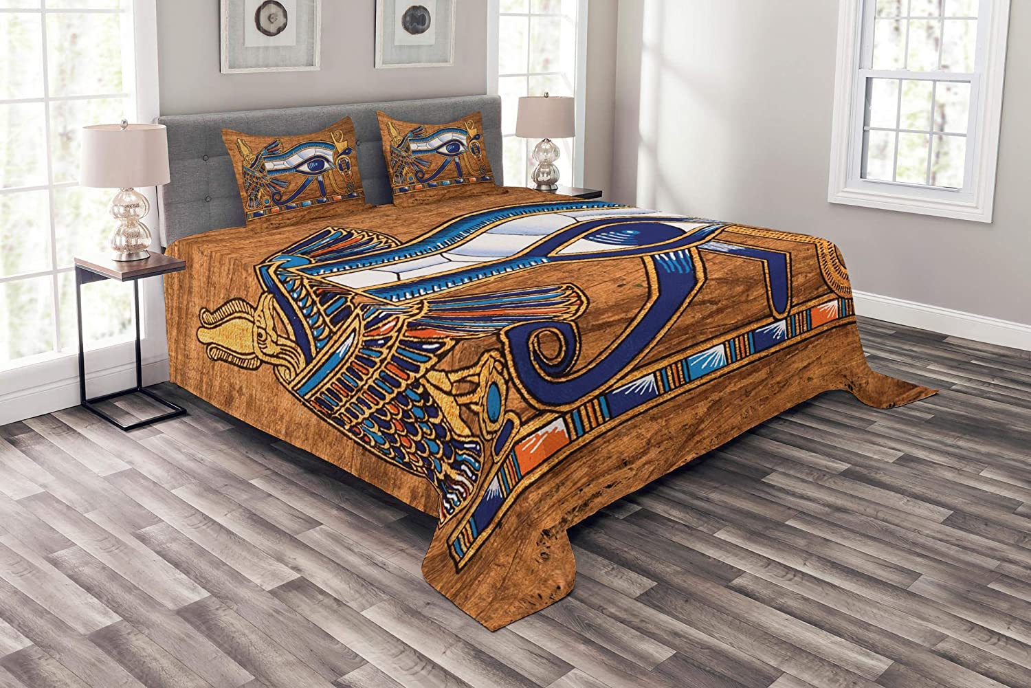 Lunarable Egyptian Bedspread, Egyptian Art Papyrus Depicting Eye Mosaic Style Design, Decorative Quilted 3 Piece Coverlet Set with 2 Pillow Shams, King Size, Navy Blue