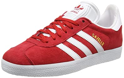 adidas Originals Men's Gazelle Lace-up Sneaker,Powred/White/Goldmt,7