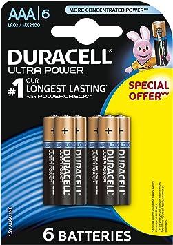 Duracell AAA ULTRA AL - Pack de 4 + 2 pilas alcalinas AAA Ultra Al: Amazon.es: Electrónica