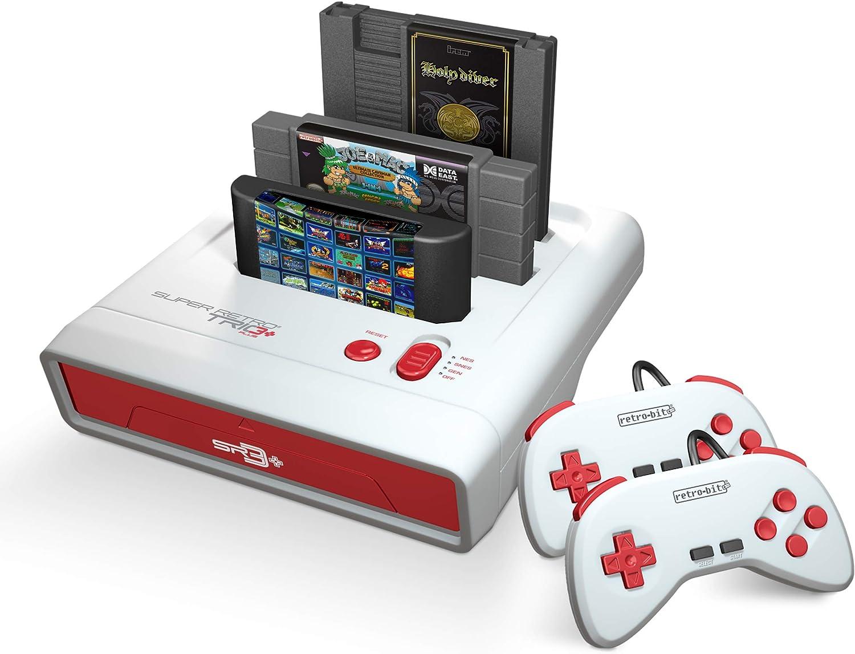 Retro-Bit Super Retro Trio HD Plus 720P 3 in 1 Console System 2019 for Original NES, SNES, and Sega Genesis Games – Red White