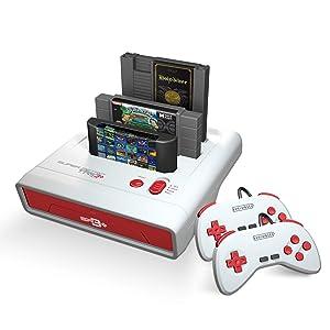 Retro-Bit Super Retro Trio HD Plus 720P 3 in 1 Console System (2019) for Original NES, SNES, and Sega Genesis Games - Red/White