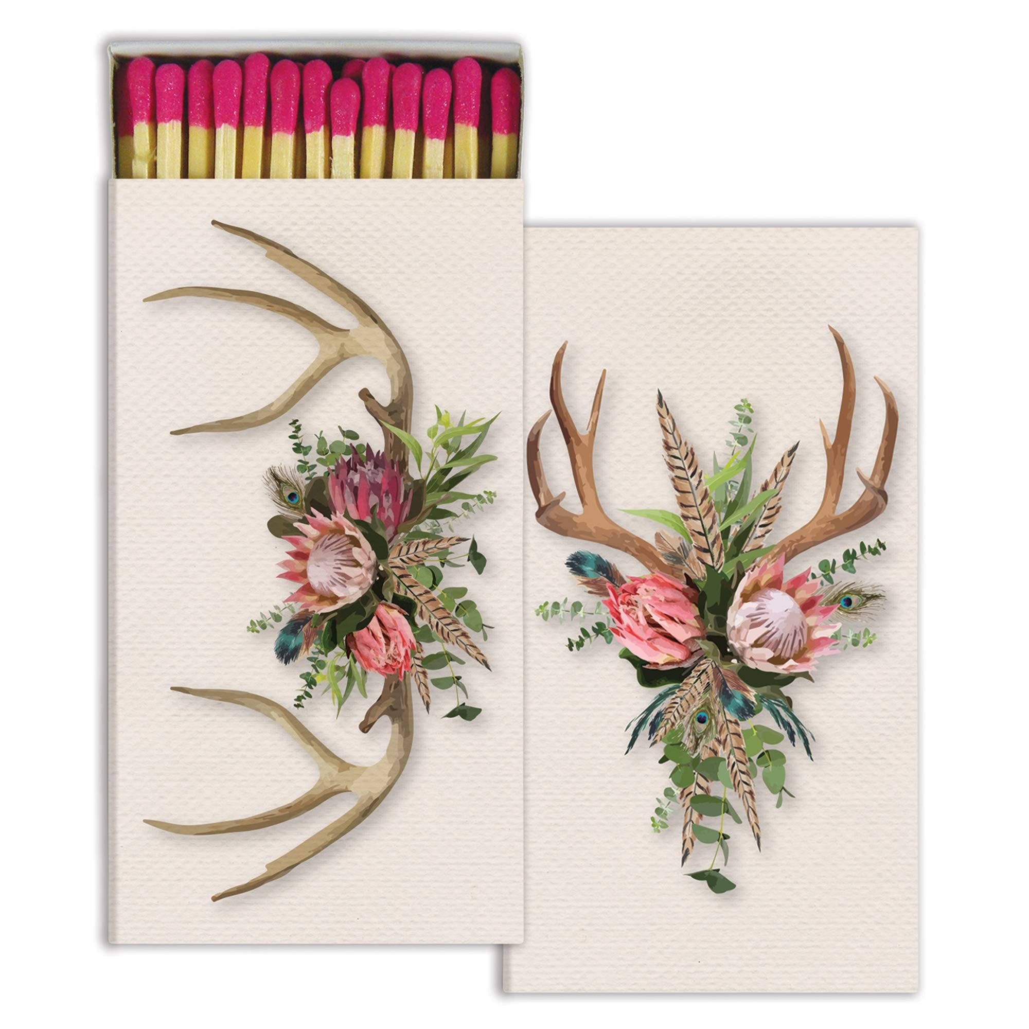 Decorative Bohemian Antlers Match Boxes with Long Kitchen Matches Great for Lighting Candles, Grills, Fireplaces and More | Set of 10 Large Match Boxes