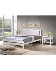 Humza Amani Glory White Wooden Slatted Bed available in 3FT Single, 4FT Small Double or 4FT6 Double
