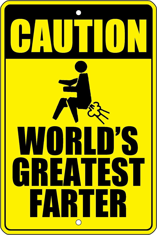 Fhdang Decor, Cartel de Aluminio con Texto en inglés «Caution World'S Greatest Farter», para Puerta de habitación, Dormitorio, Bar, Sala de Juegos, etc, Metal, Multicolor, 12x18 Inches