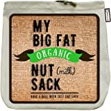 """My Big Fat Organic Nut (milk) Sack (12""""x12"""") Commercial Quality Organic Cotton & Hemp Reusable Almond Milk Bag Strainers. Juicing Sprouting Jelly Cheesecloth Coffee Press Tea Sieve (Natural Hemp)"""