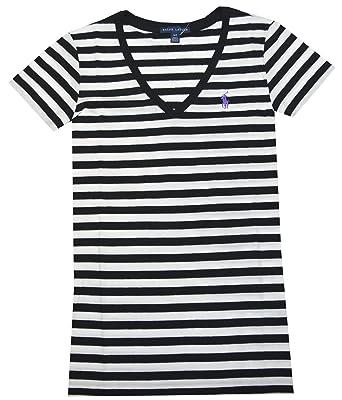 547d535131272e Polo Ralph Lauren Damen V-Neck Shirt schwarz-weiß gestreift Größe M ...