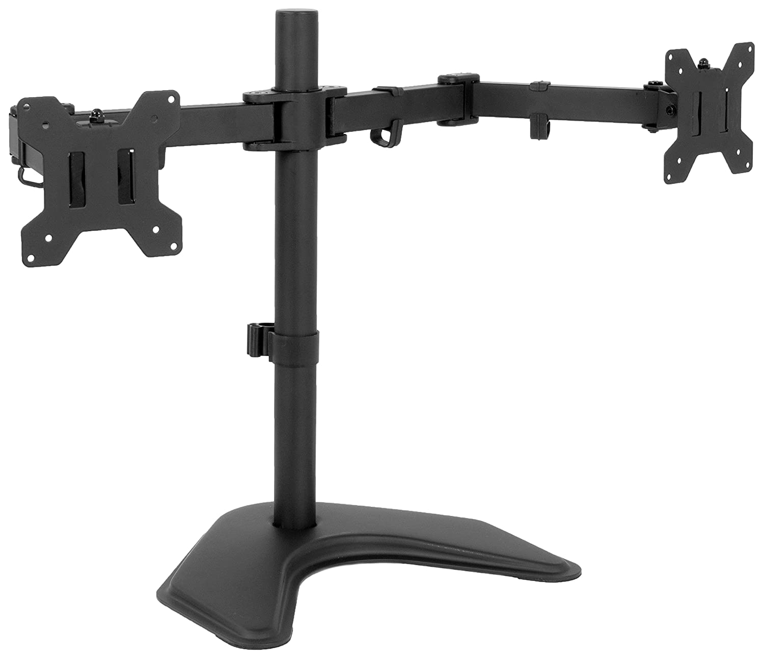 VIVO Full Motion Dual Monitor Free-Standing Desk Stand VESA Mount Double Joints | Holds 13 to 32 Screens (STAND-V102K)