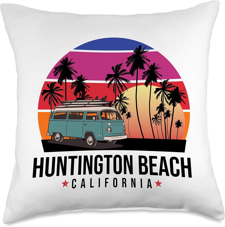 California Surf Retro Vintage Surfing Gifts California Huntington Beach retro surfer Throw Pillow, 18x18, Multicolor