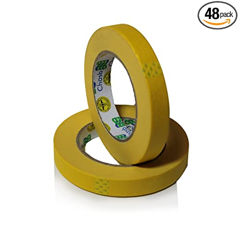 Insta Finish Performance Yellow Masking Tape 3 4 Inch X 60 Yards 1 Case Of 48 Rolls Crepe Paper Industrial Grade Easy Release Auto Body Tape