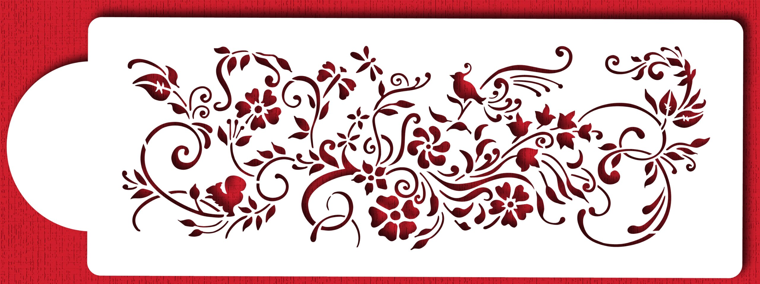 Designer Stencils C431 Nature's Vignette Cake Stencil, Beige/semi-transparent