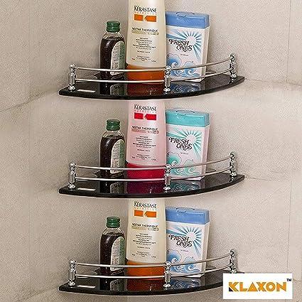 Klaxon G0040IT0059 9 x 9 inch Glass Wall Shelf (Black, Pack of 3)