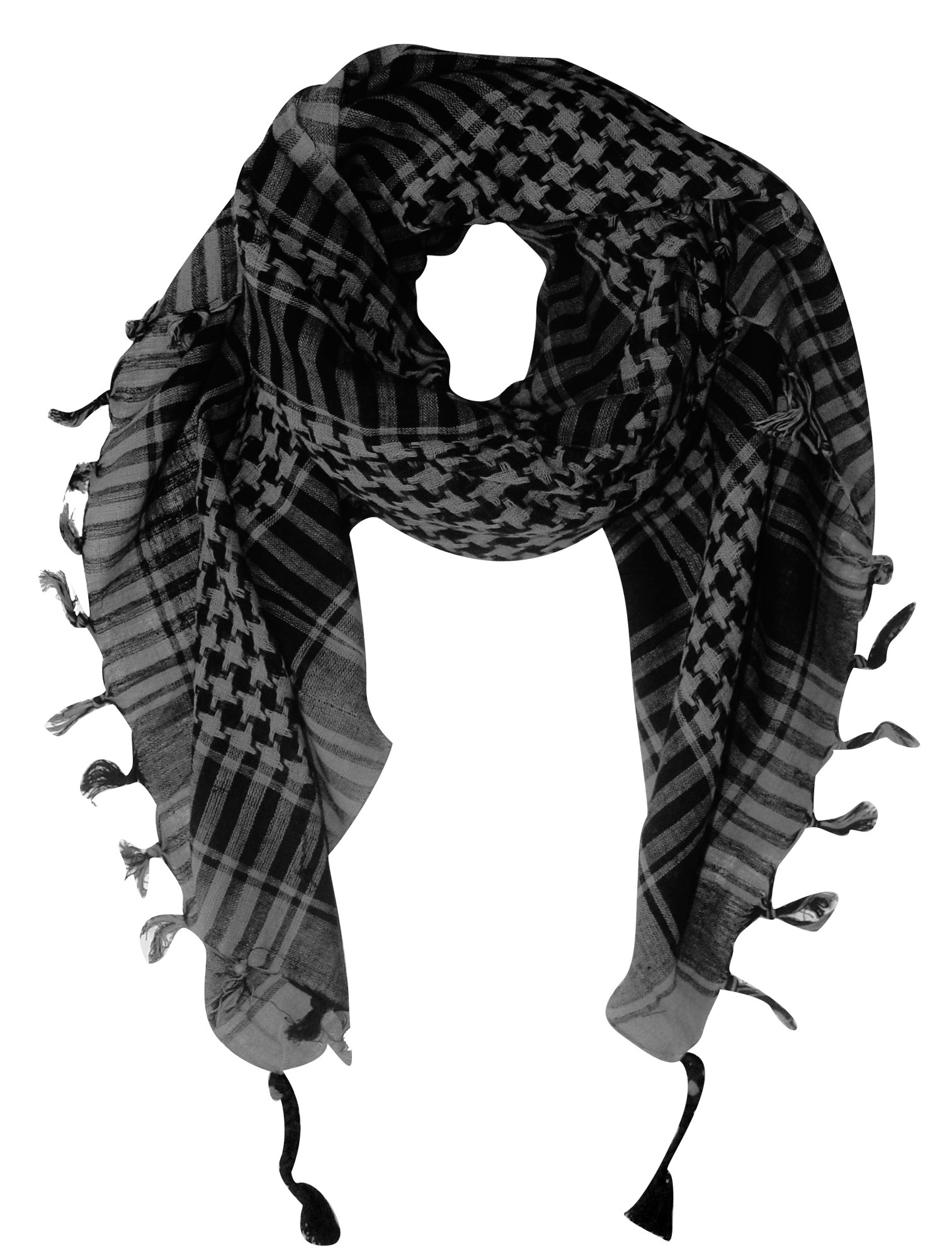 Peach Couture 100% Cotton Unisex Tactical Military Shemagh Keffiyeh Scarf Wrap Grey/Black